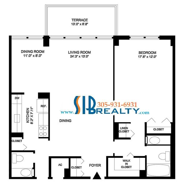One Bedroom & One & Half Bathroom 1104 sq ft | Winston Towers Floor Plan | Click to enlarge Floor Plan
