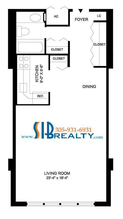 Studio & One Bathroom 795 sq ft | Winston Towers Floor Plan | Click to enlarge Floor Plan