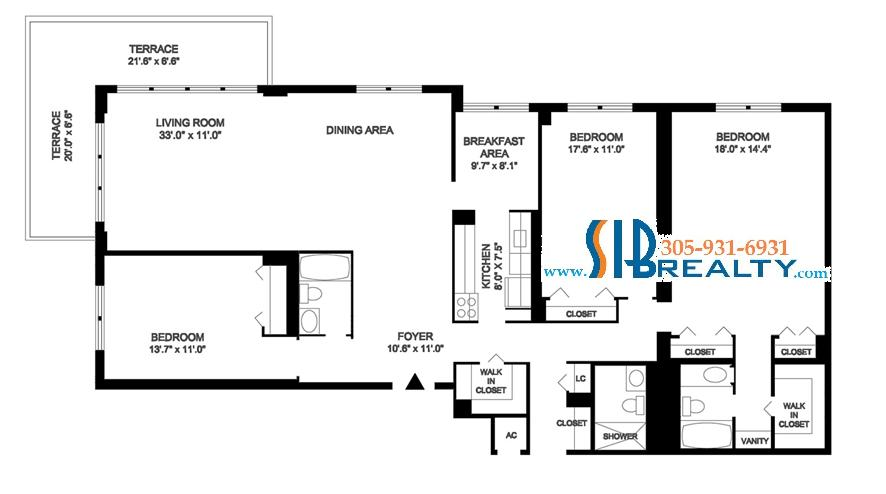 Three Bedroom & Three Bathroom 2400 sq ft | Winston Towers Floor Plan | Click to enlarge Floor Plan