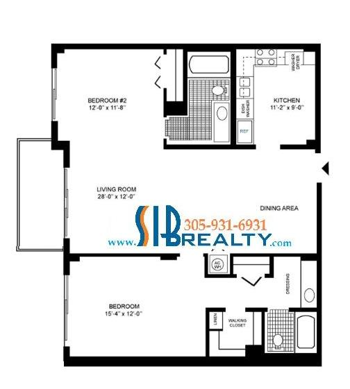 Two Bedroom & Two Bathroom 1232 sq ft | Winston Towers Floor Plan | Click to enlarge Floor Plan