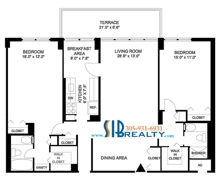 Two Bedroom & Two Bathroom 1507 sq ft | Winston Towers Floor Plan | Click to enlarge Floor Plan