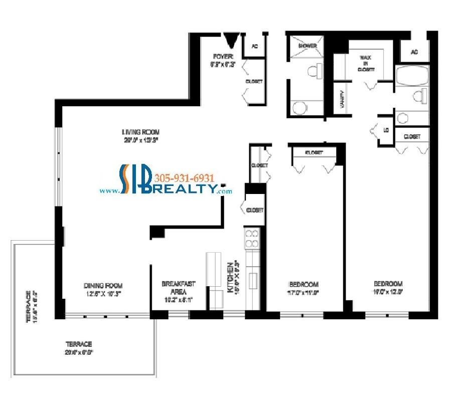 Two Bedroom & Two Bathroom 1860 sq ft | Winston Towers Floor Plan | Click to enlarge Floor Plan